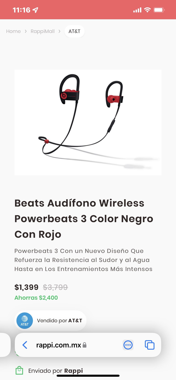 Rappi: AT&T Audífonos Powerbeats 3 wireless