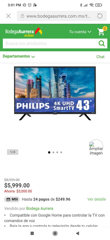 Bodega Aurrerá: TV Philips 43 Pulgadas 4K Ultra HD Smart TV LE