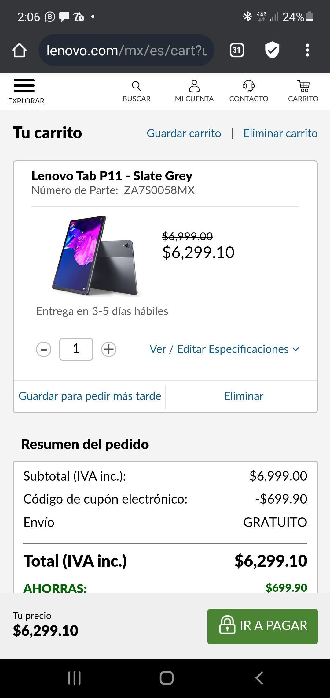 Lenovo: Tablet P11 LTE pantalla 2k, compatible con teclado magnético y stylus y a 12 msi
