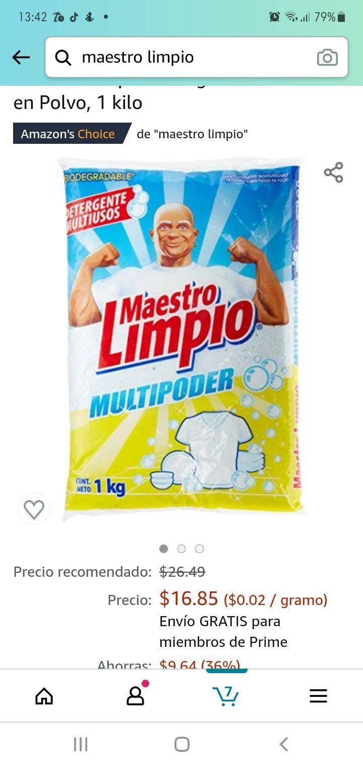 Amazon: Detergente Maestro limpio 1kg