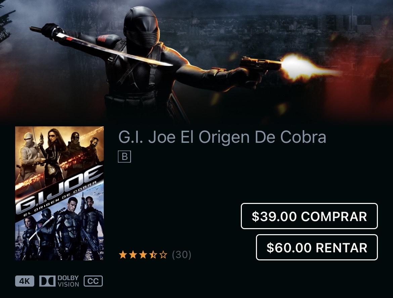 iTunes: G.I. Joe El Origen De Cobra por Stephen Sommers 4K DOLBY VISION