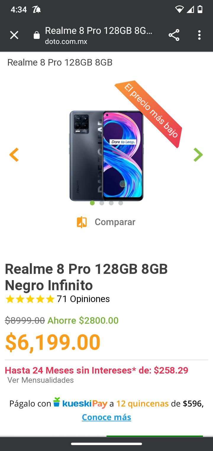Doto: Realme 8 Pro 128GB 8GB Negro Infinito