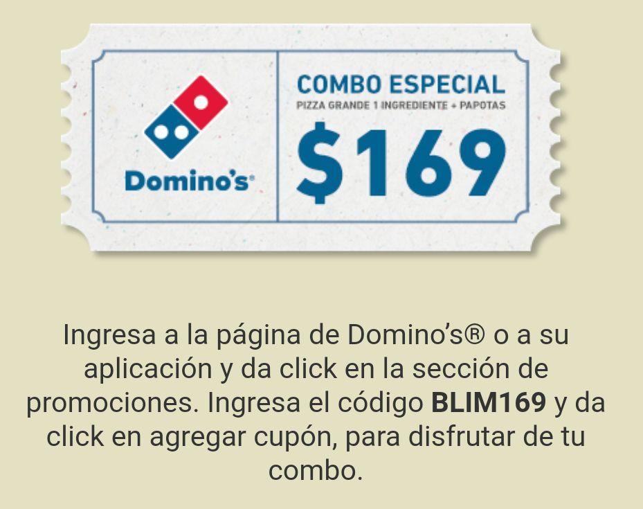 Domino's Pizza: Pizza grande 1 ingrediente + Papotas por 169 pesos