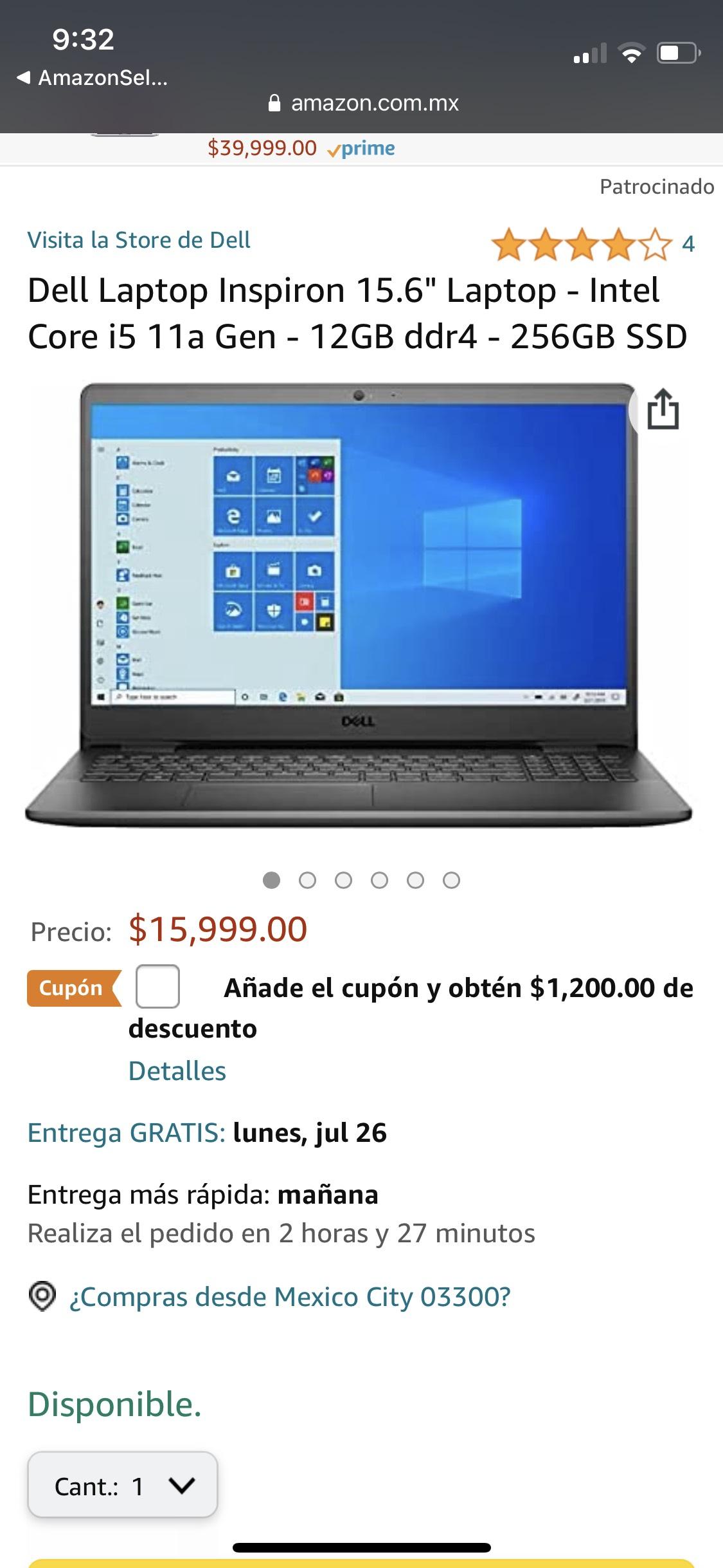 Amazon: Laptop Dell core i5 11a gen 12gb ram 256 SSD