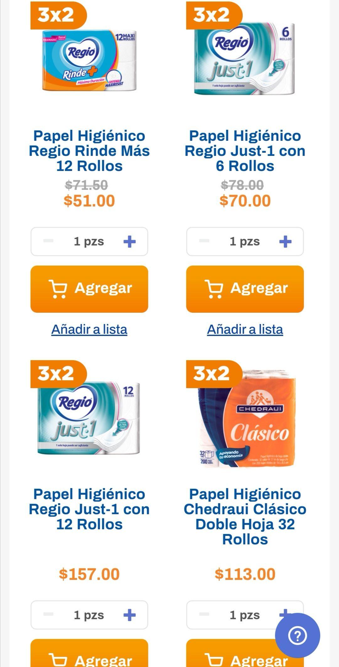 Chedraui: 3 x 2 en selección de papel higienico Regio o Chedraui 4, 6, 12, 32 rollos