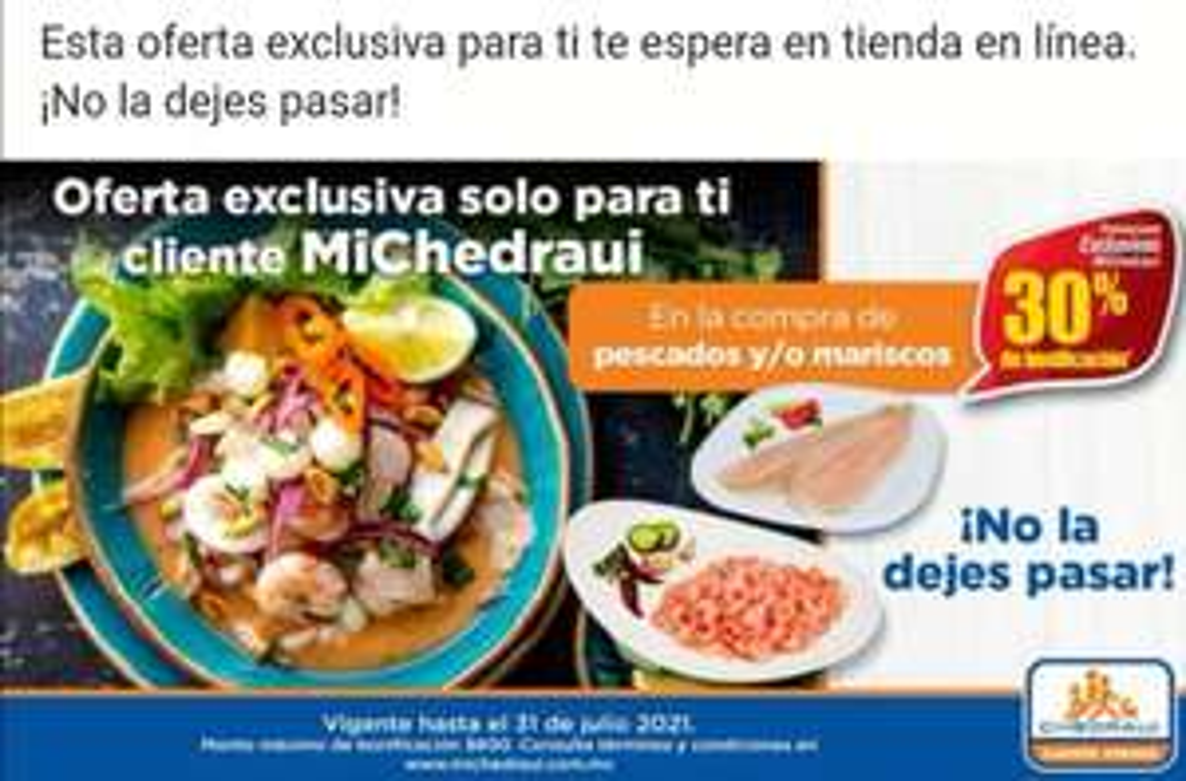Chedraui: 30% de bonificación en la compra de pescados y mariscos (Exclusivo clientes MiChedraui)