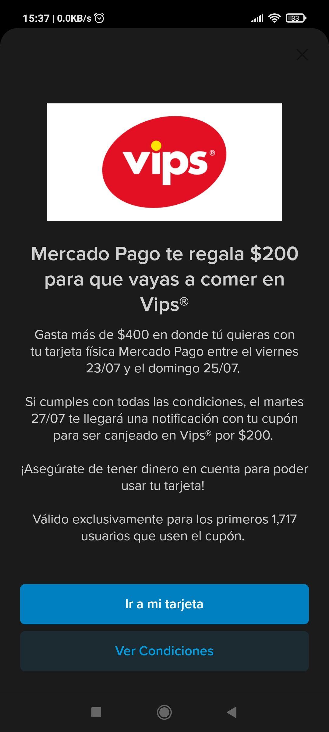 Mercado Pago: Gasta más de $400 y obtén cupón de $200 en vips
