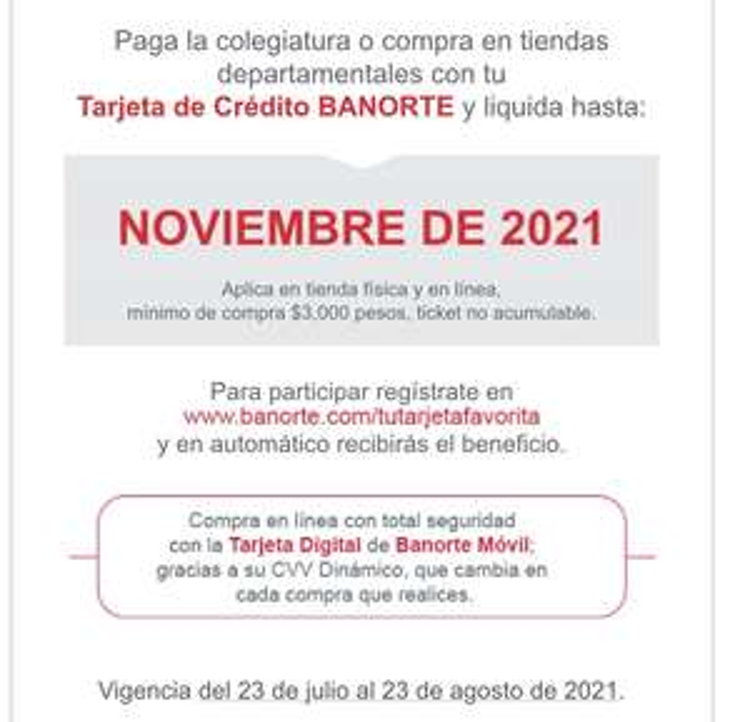 Banorte: compra ahora y paga hasta noviembre.