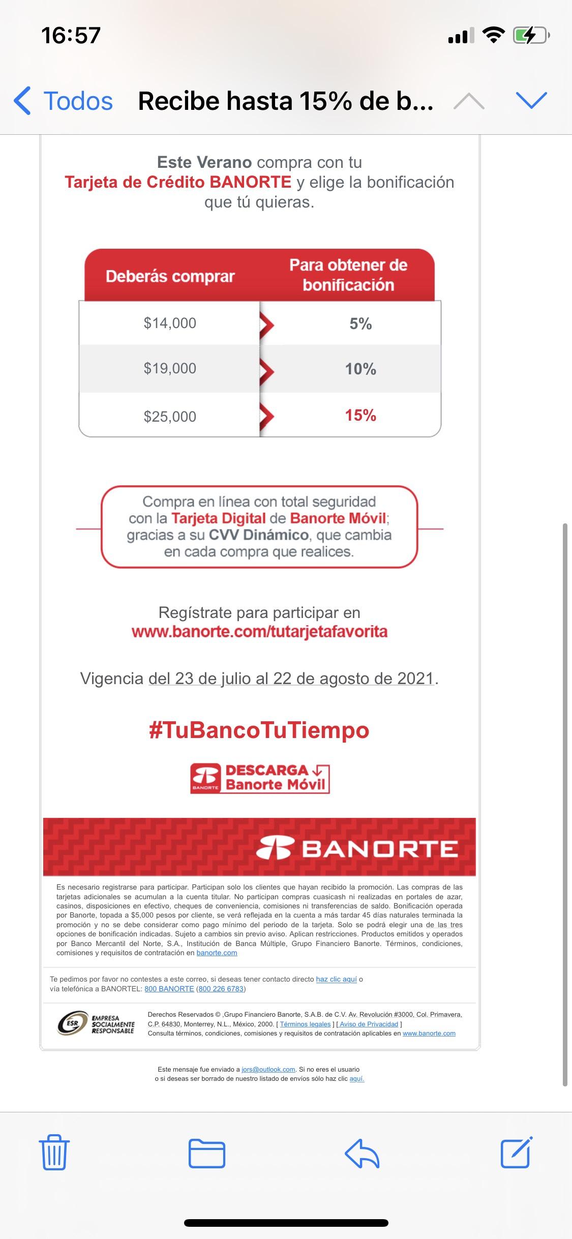 Banorte: Reembolso desde el 5% hasta el 15%, usuarios seleccionados