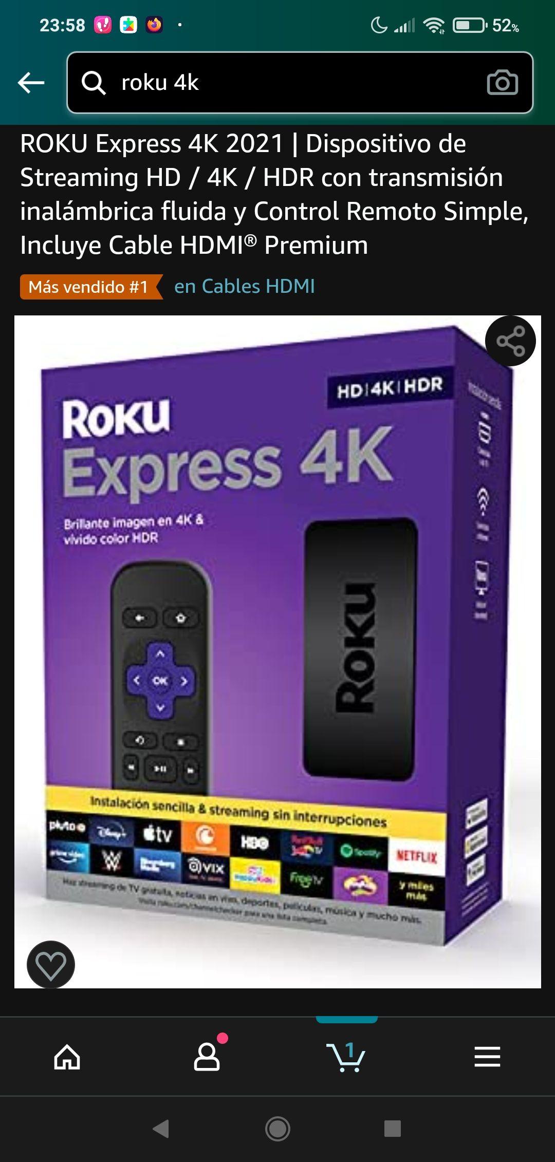 Amazon Roku express 4K 2021. Con cable HDMI y control remoto