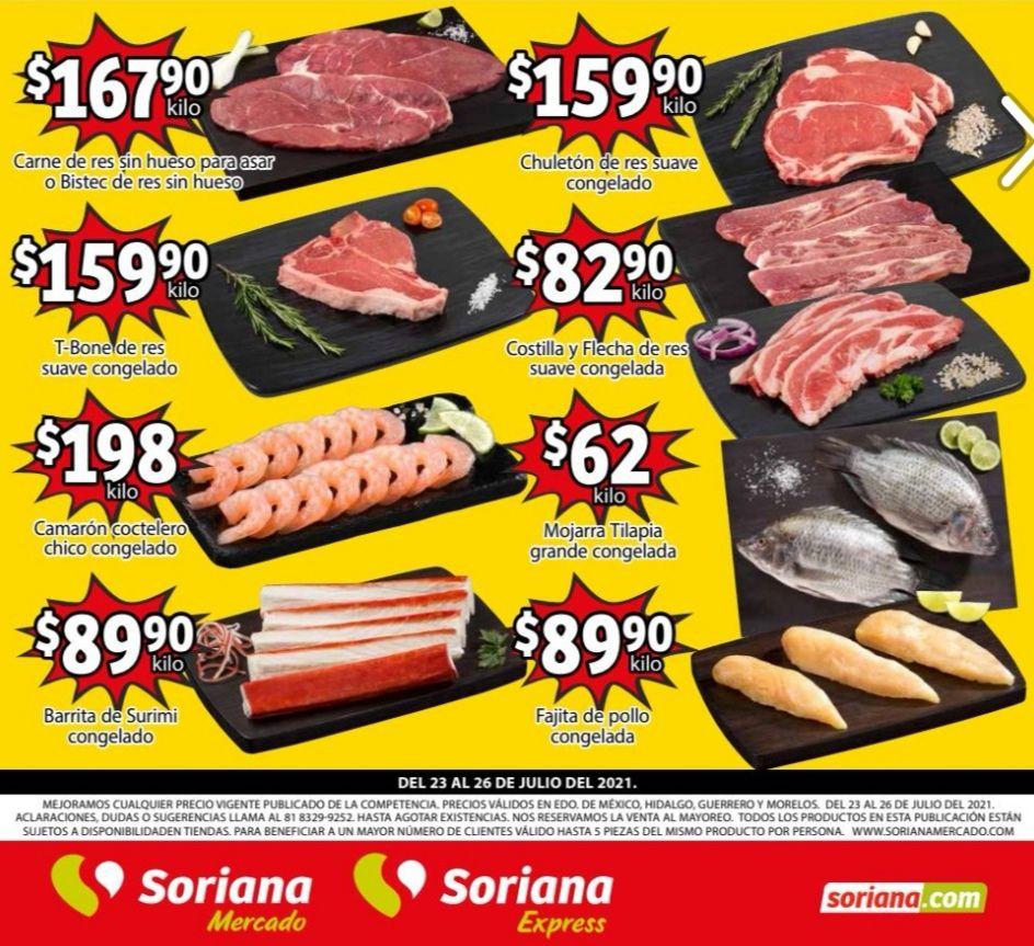 Soriana Mercado y Express: Volante de Ofertas Fin de Semana Carnes y Frescos al Lunes 26 de Julio