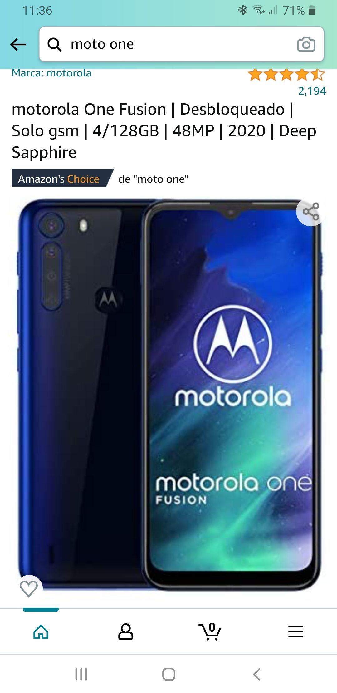 Amazon, Moto one fusion de 128/4 azul zafiro