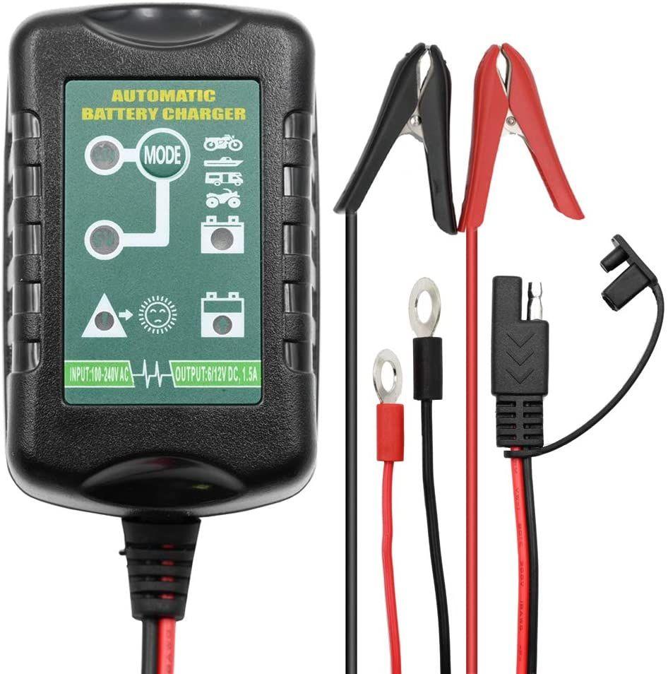 Amazon Cargador de batería de 6 V, 12 V, 1,5 A, cargador de batería automático, 4 etapas para coche, motocicleta, cortacésped, barco, moto