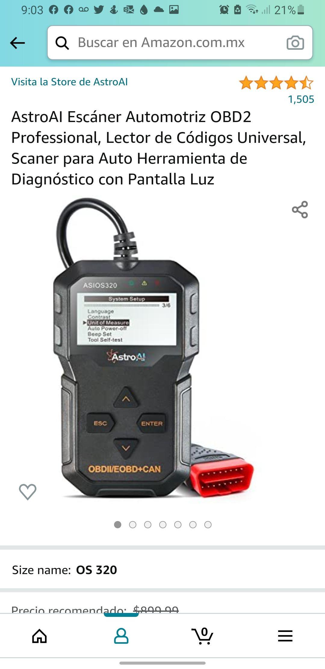 Amazon AstroAI Escáner Automotriz OBD2 Professional, Lector de Códigos Universal, Scaner para Auto Herramienta de Diagnóstico