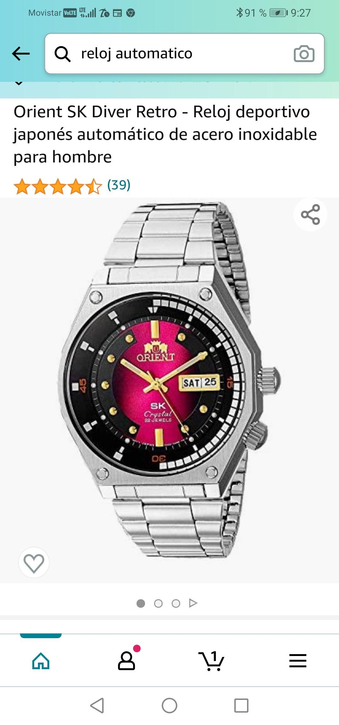 Amazon: Orient SK Diver Retro - Reloj deportivo japonés automático de acero inoxidable para hombre