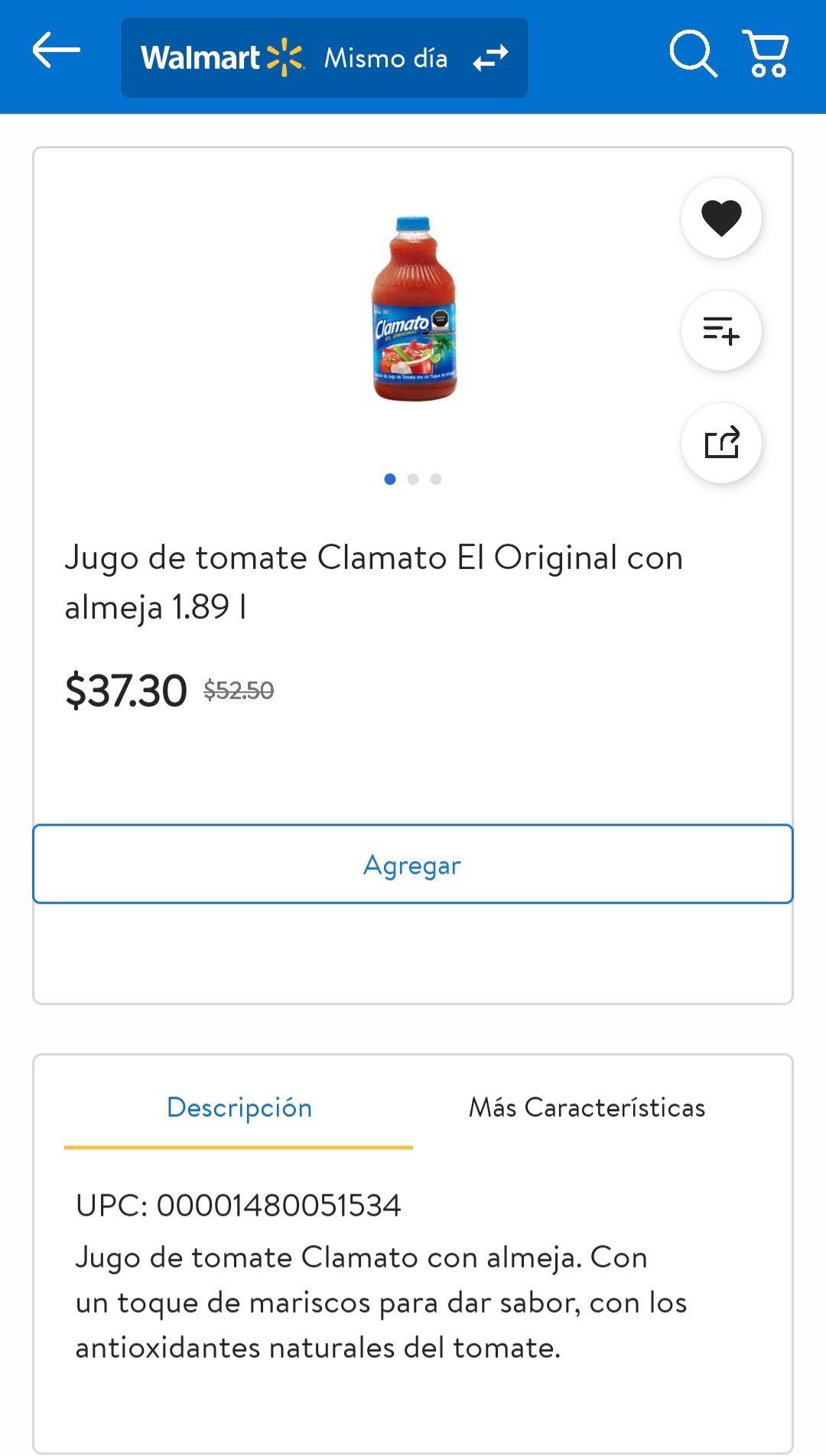 Walmart: Clamato 1.89 lt