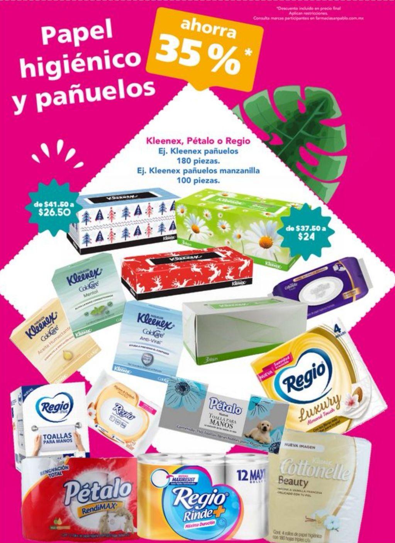 Farmacias San Pablo: 35% de descuento en papel higiénico y pañuelos