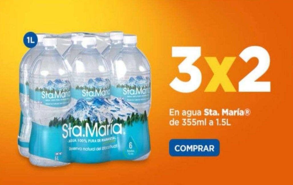 Chedraui: 3 x 2 en agua de manantial Sta. María presentaciones individuales de 355 ml a 1.5 L