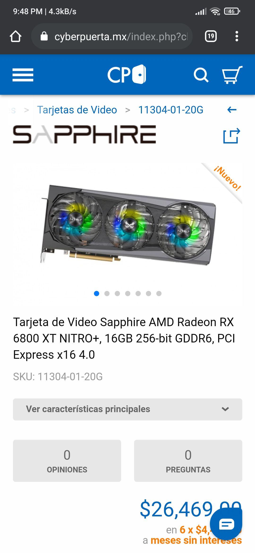 Cyberpuerta Sapphire 6800XT Nitro+