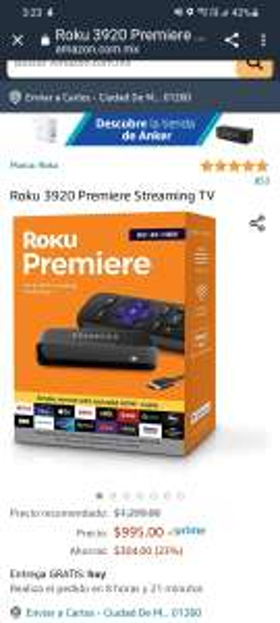 Amazon: Roku 3920 Premiere Streaming TV, 4K, HDR