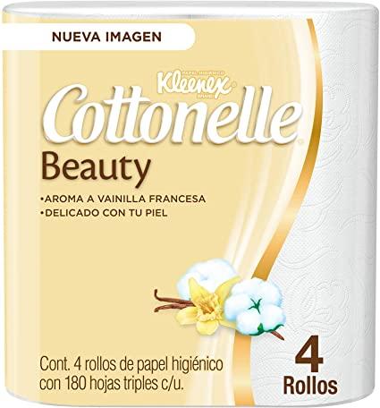 Amazon: Kleenex Cottonelle Beauty Papel Higiénico, Paquete con 4 Rollos de 180 Hojas Triples
