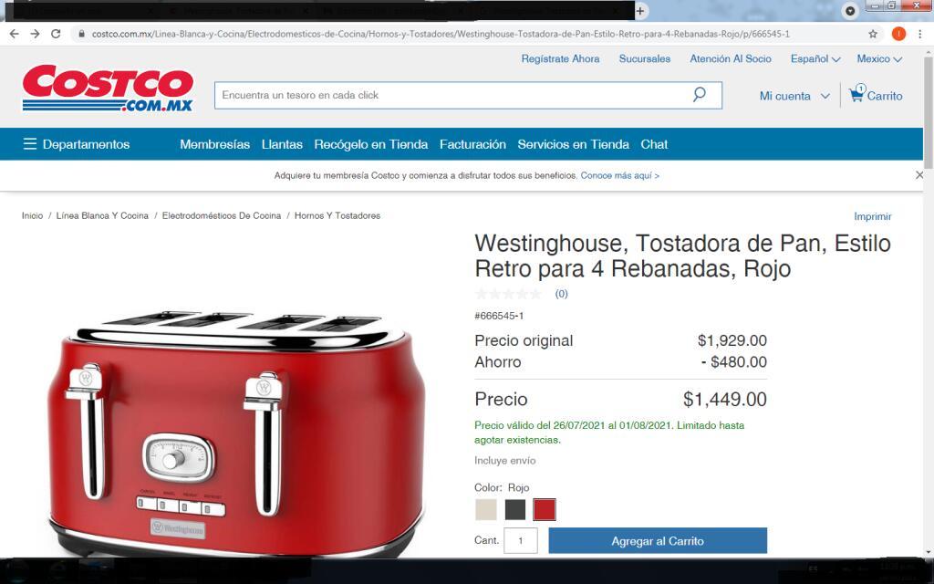 Costco: Westinghouse, Tostadora de Pan, Estilo Retro para 4 Rebanadas, Rojo
