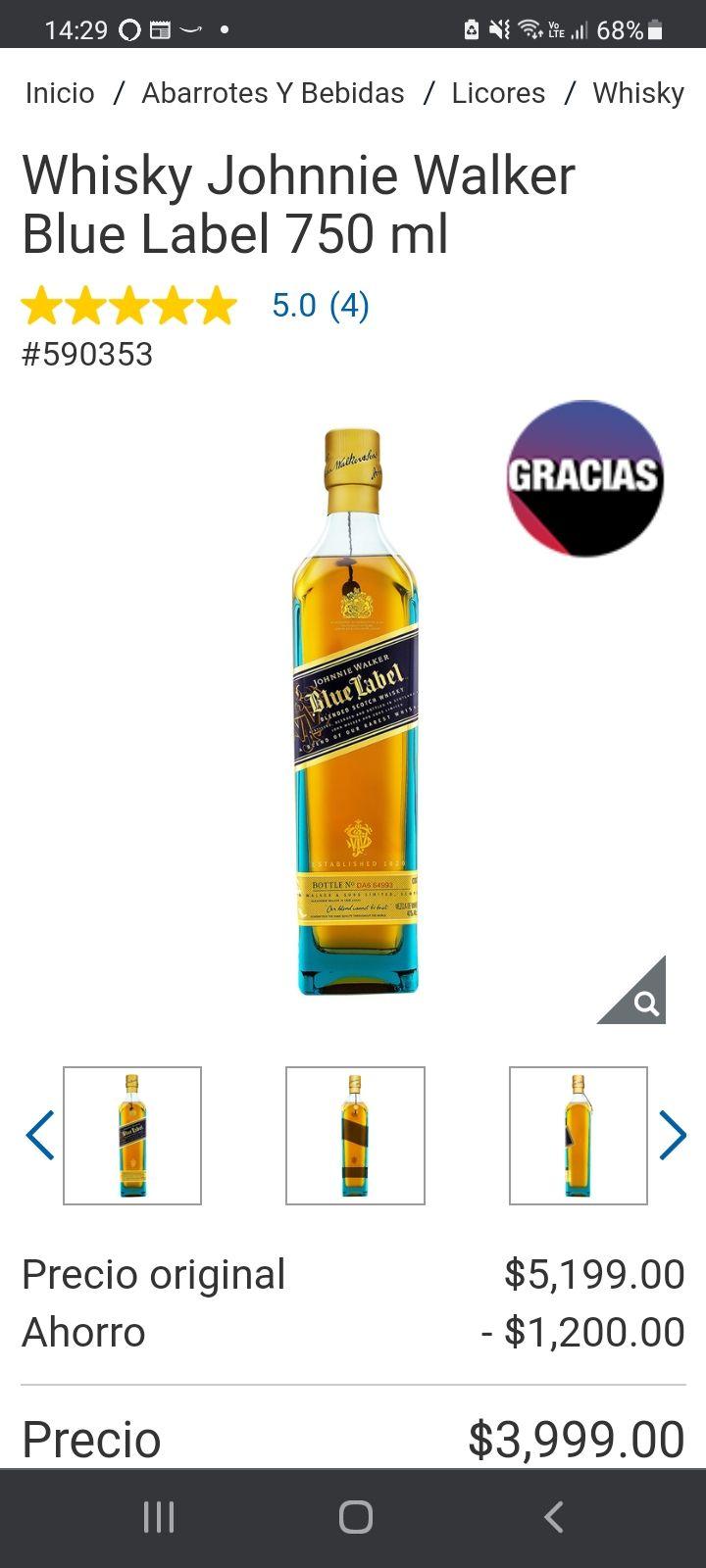 Costco: Whisky Johnnie Walker Blue Label 750 ml