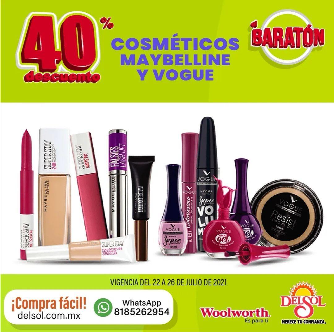 Del Sol y Woolworth: 40% de descuento en cosméticos Maybelline y Vogue