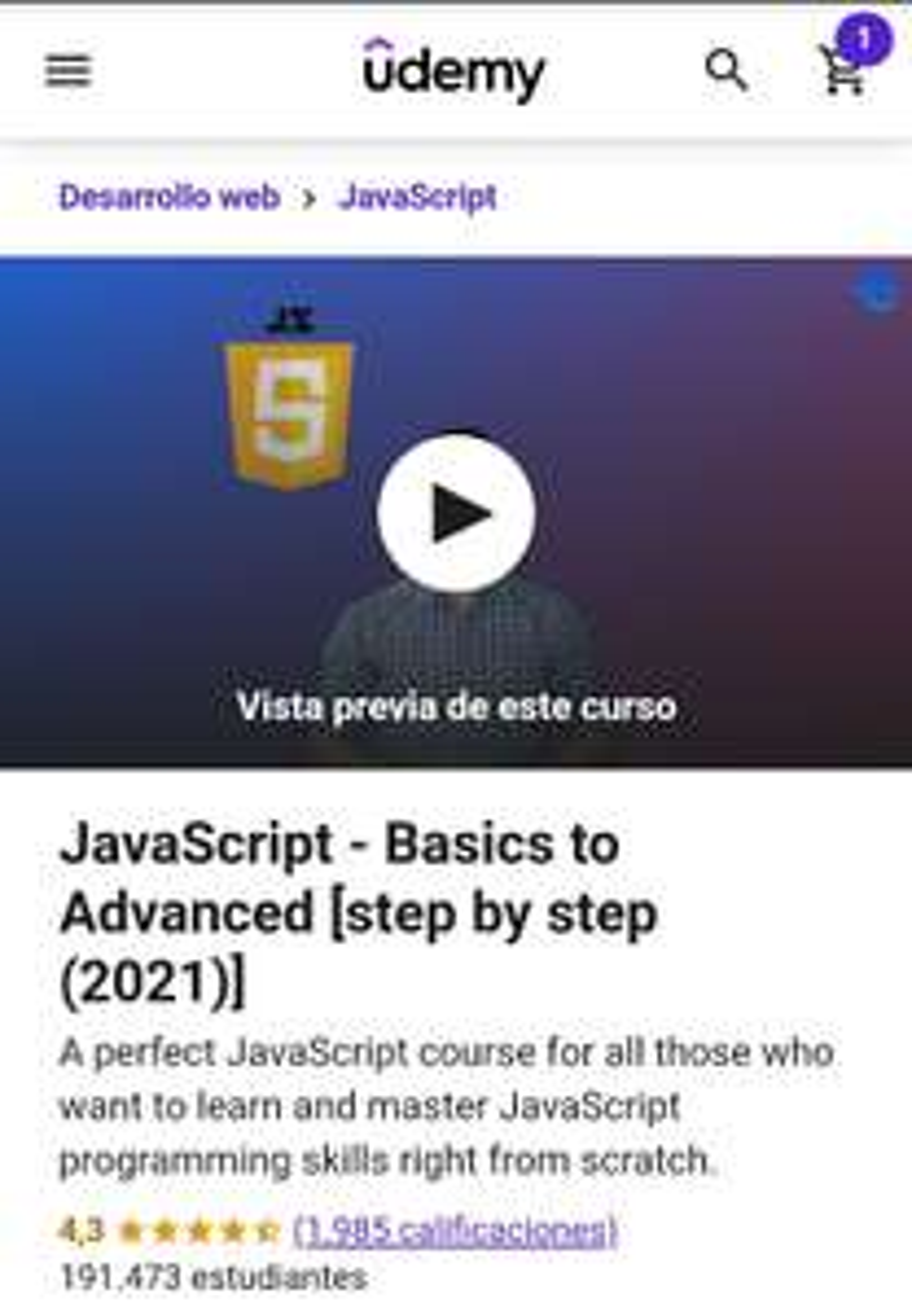 Udemy, curso de JavaScript de básico a avanzado con cupón 100% de descuento.
