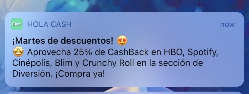 Hola Cash: 25% de Cashback en la sección de Diversión