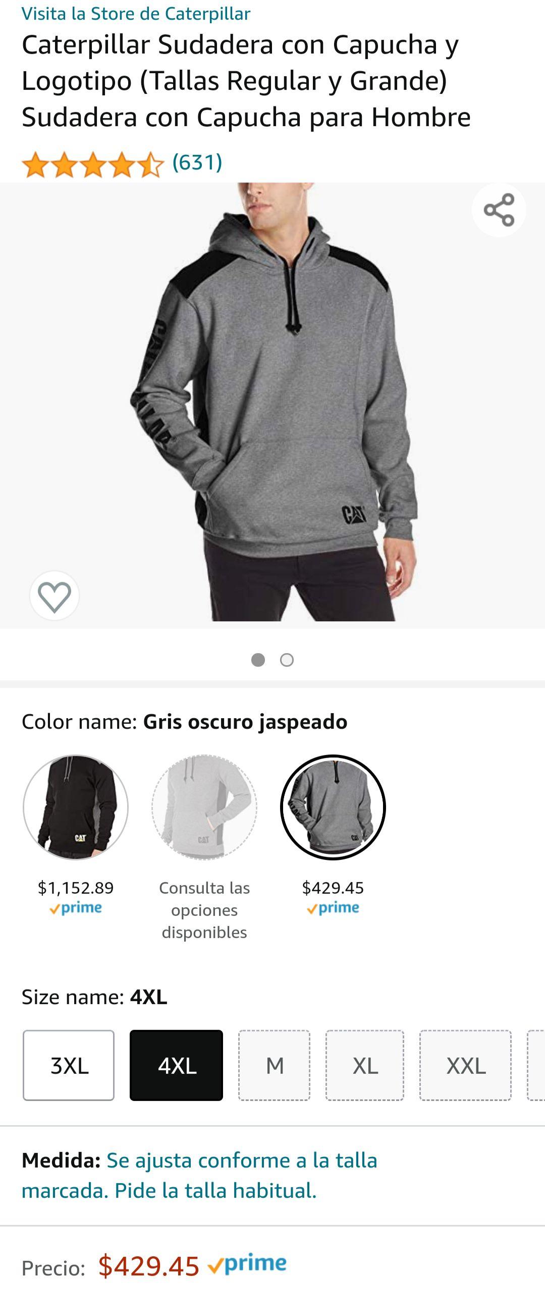 Amazon: Caterpillar Sudadera con Capucha y Logotipo para Hombre (talla 4XL gris) envío gratis con Prime