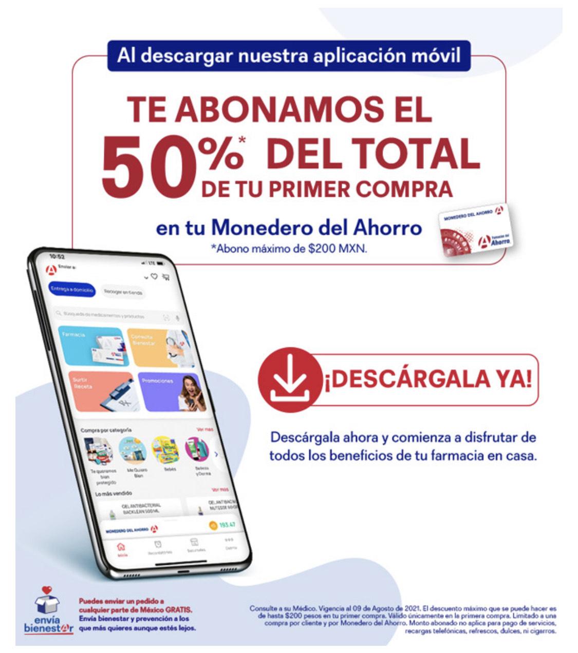 Farmacias del Ahorro: 50% de bonificación al descargar la app en primera compra
