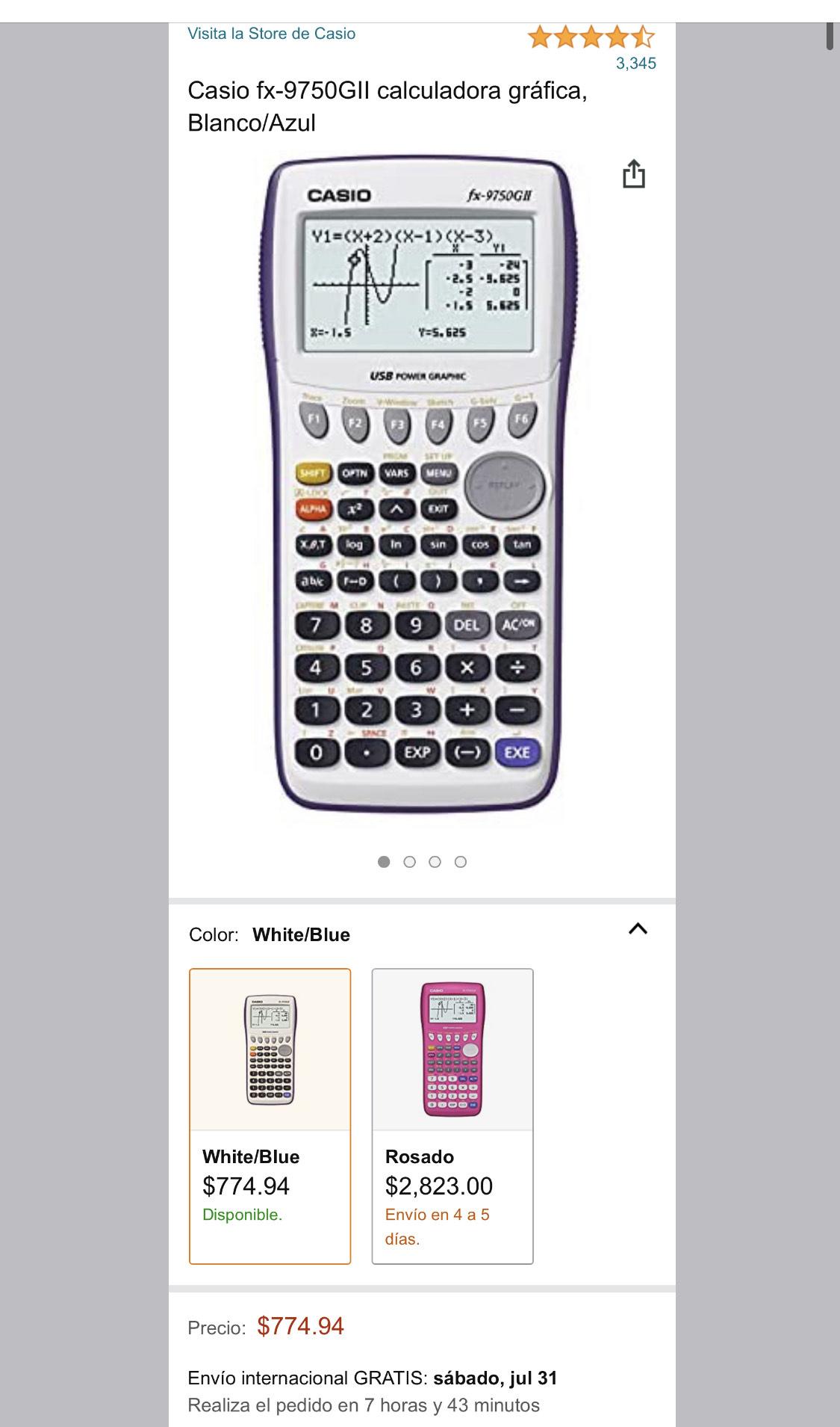 Amazon: Casio fx-9750GII calculadora gráfica
