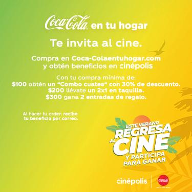 Coca Cola te invita al cine en la compra de $100, $200 o $300 en 3 ciudades