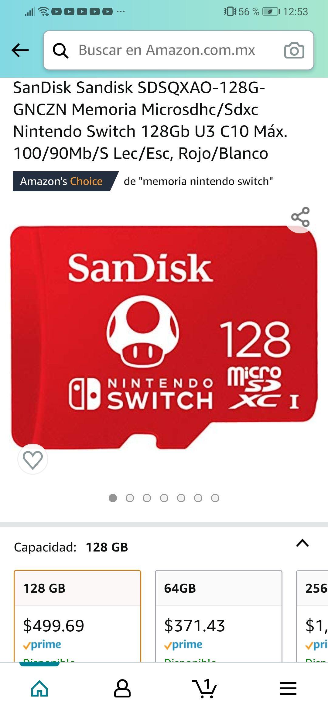 Amazon: SanDisk Sandisk SDSQXAO-128G-GNCZN Memoria Microsdhc/Sdxc Nintendo Switch 128Gb U3 C10 Máx. 100/90Mb/S Lec/Esc, Rojo/Blanco