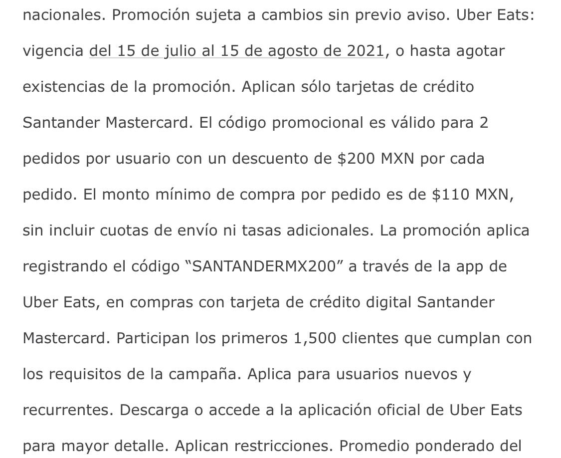 Uber Eats: Cupón $200 pagando con Santander Mastercard