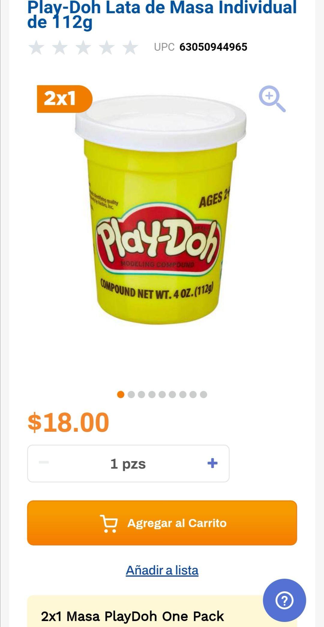 Chedraui: 2 x 1 en Play-Doh Lata de Masa Individual de 112g