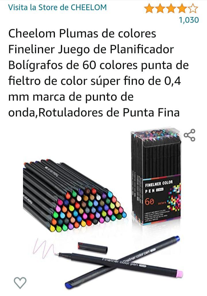 Amazon: 60 plumones de colores punta de fieltro de color súper fino de 0,4 mm marca de punto de onda