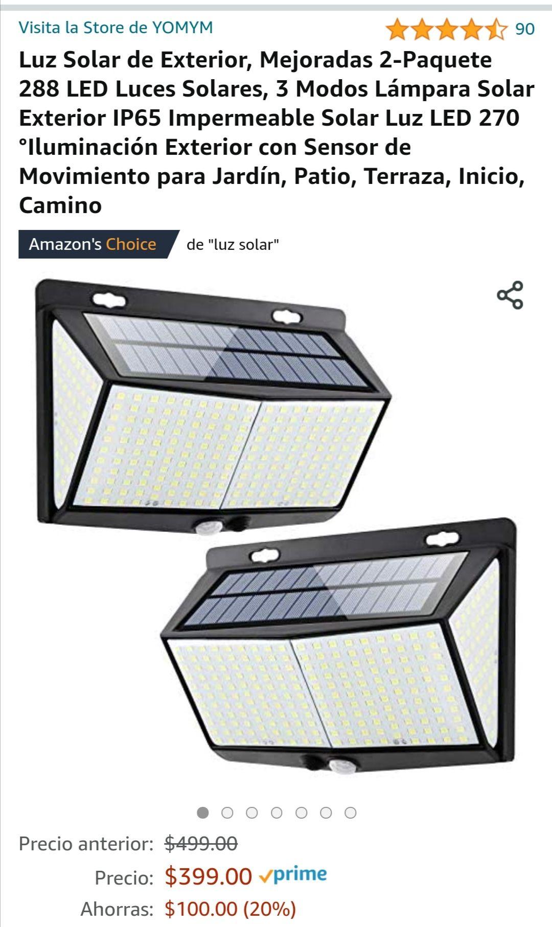 Amazon Luz Solar de Exterior, Mejoradas 2-Paquete 288 LED