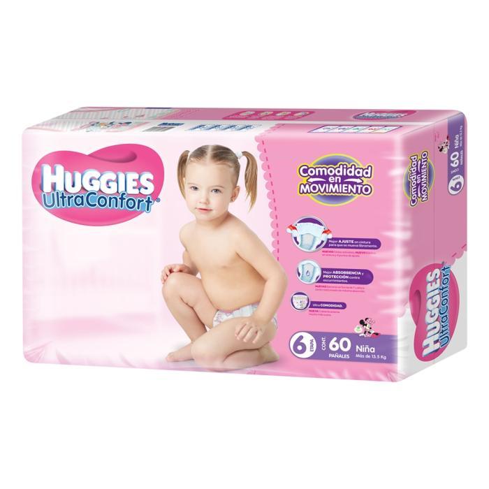 Superama Dos paquetes de pañales Huggies ultraconfort etapa 6 de 60 pzas c/u