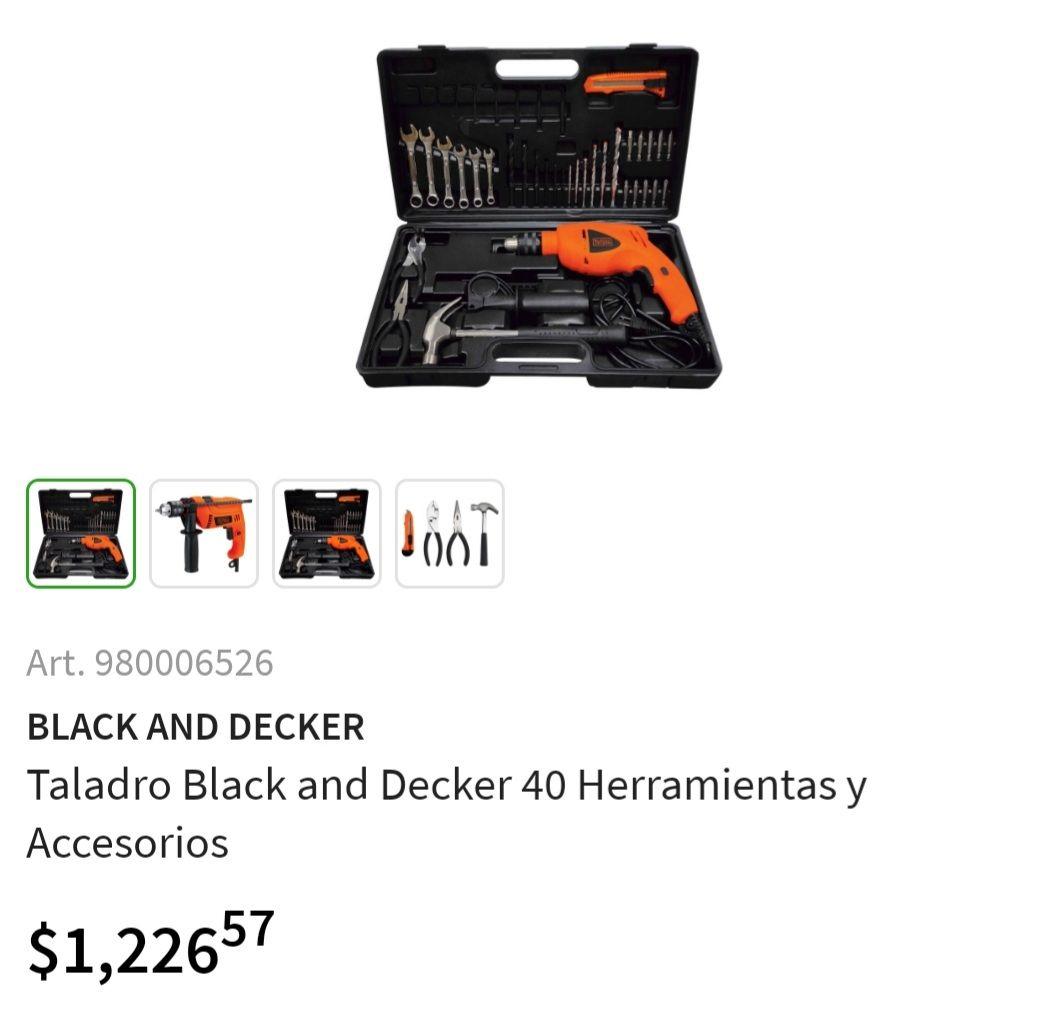 Sam's Club: Taladro/ Rotomartillo 1/2Black and Decker 40 Herramientas y Accesorios