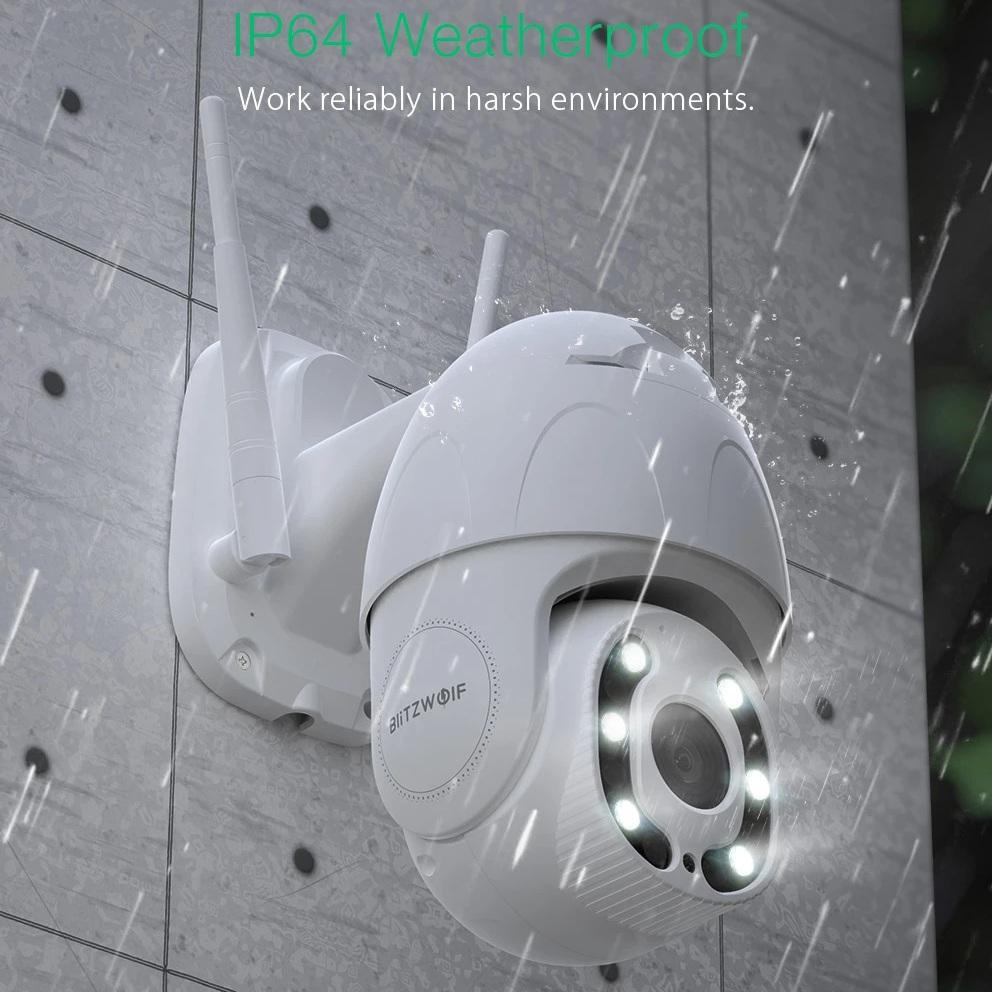 Banggood: Cámara de Seguridad Blitzwolf, 1080P, WiFi, IP64, Visión Nocturna , Audio Bidireccional, Alexa y Google
