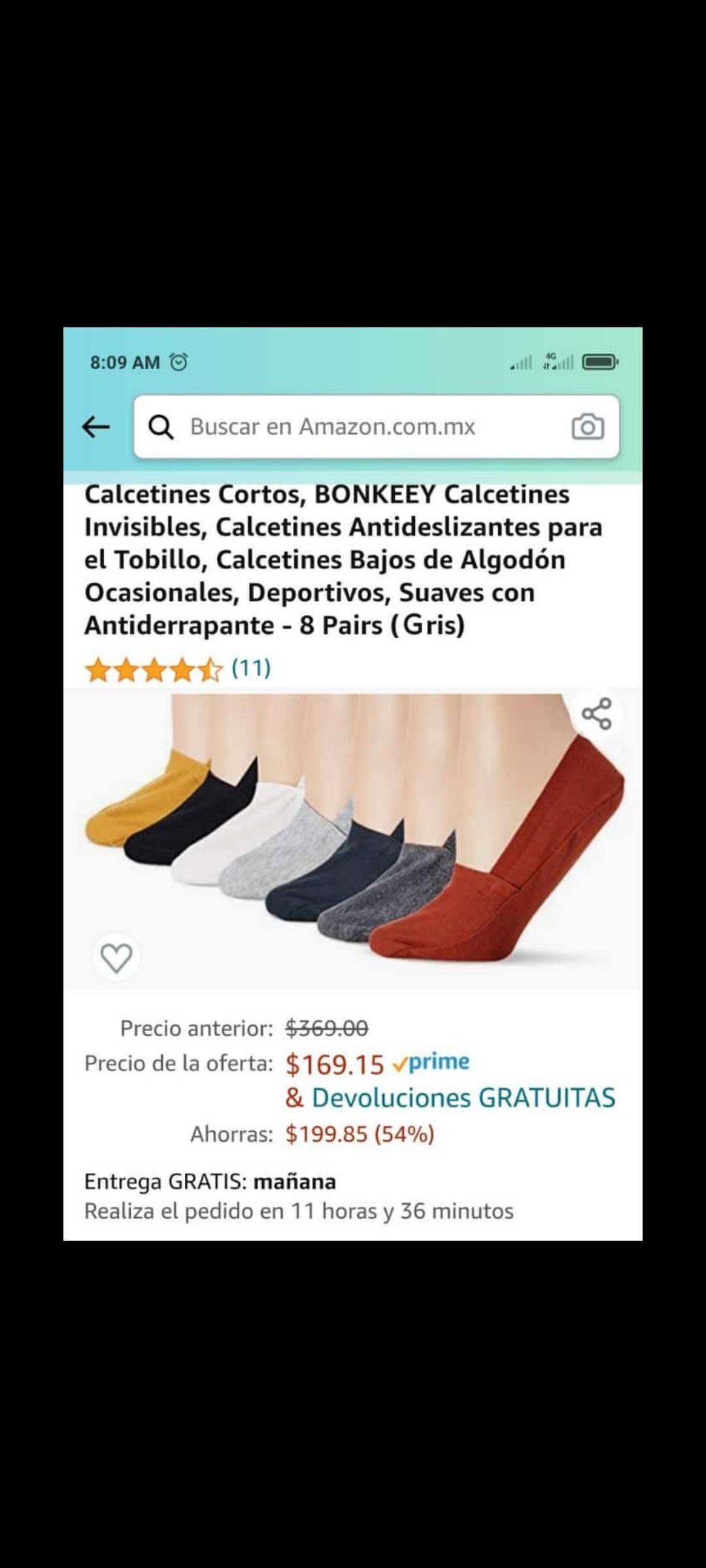 Amazon: Calcetínes cortos para mujer 8 pares