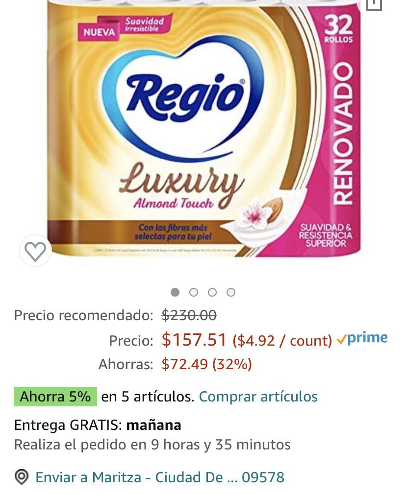 Amazon Papel higiénico Luxury 32 rollos