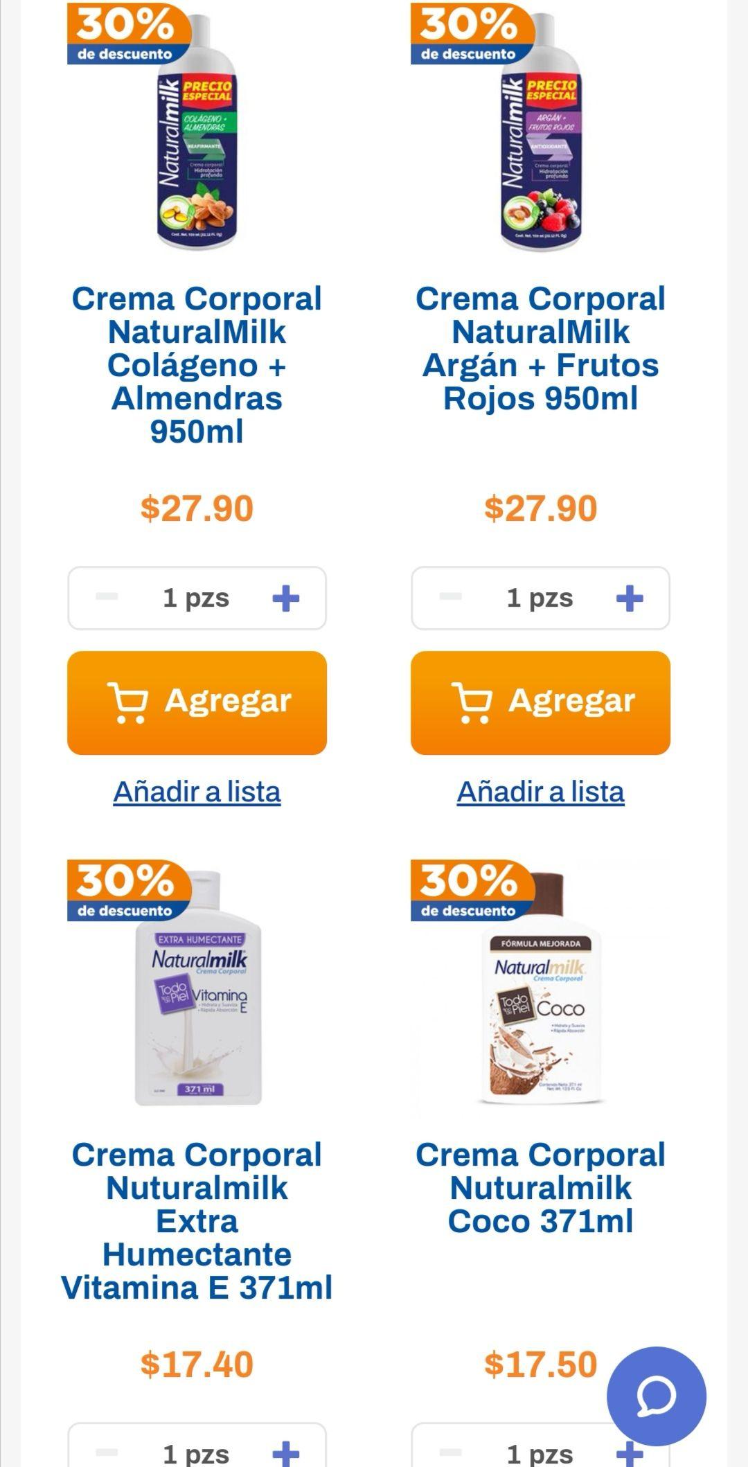 Chedraui: 30% de descuento en variedad de cremas Natural Milk