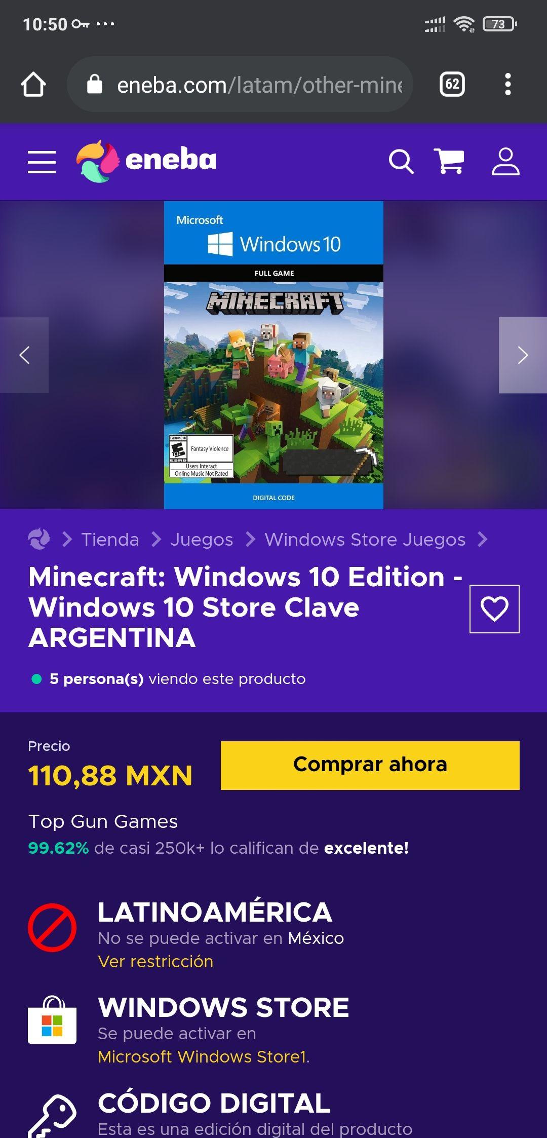 Eneba, Minecraft Windows 10 $111 pesos