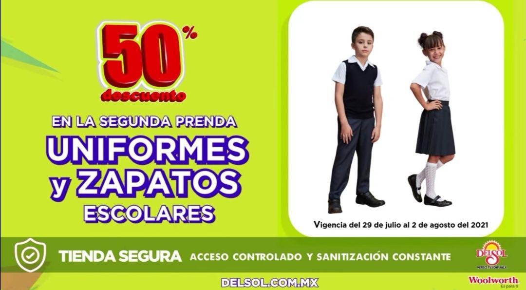 Del Sol y Woolworth: 50% de descuento en la segunda prenda en uniformes y zapatos escolares