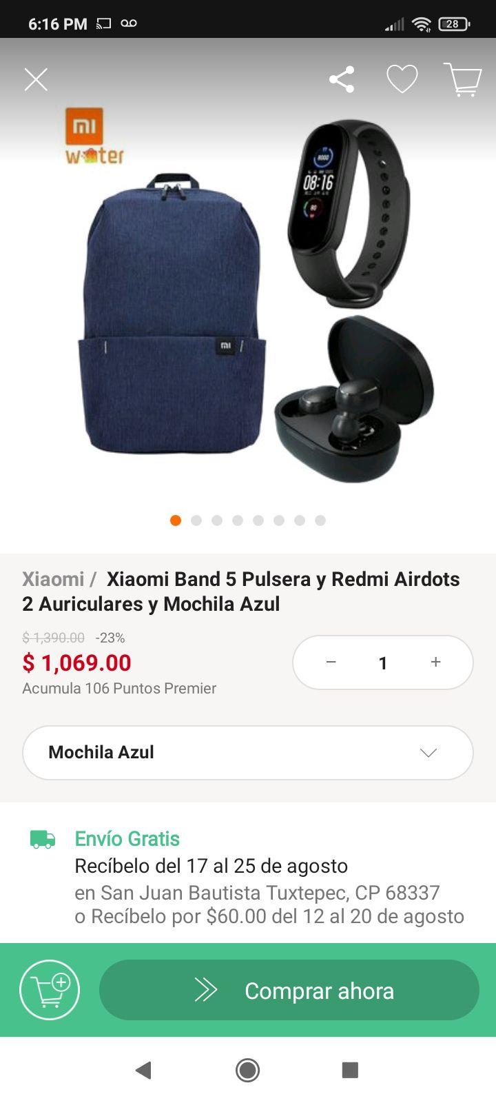 Linio: Xiaomi Band 5 Pulsera y Redmi Airdots 2 Auriculares y Mochila Azul Marca Xiaomi