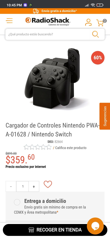 RadioShack: Cargador de Controles Nintendo joy-con & pro controller