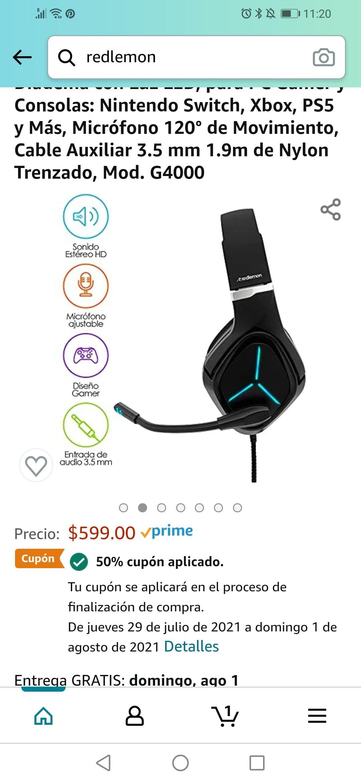 Amazon: Audífonos Gamer Redlemon